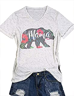 647f82040b3952 TAKEYAL Women s Mama Bear Funny T Shirts Short Sleeve O-Neck Letter Print  Tops Casual