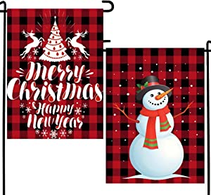 DUDOU Merry Christmas Happy New Year Snowman Welcome Garden Flag Red Black Buffalo Check Plaid Rustic Home Winter Holiday Winter Outside Decoration 12 x 18 Inches