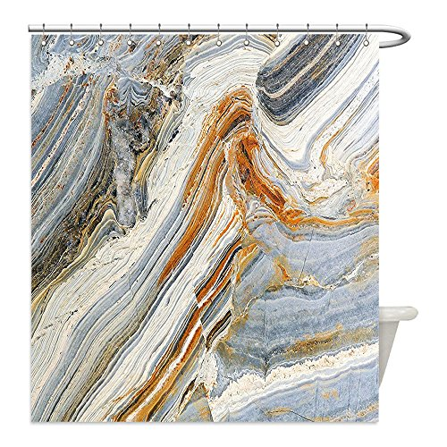proof Bathroom Shower Curtain Polyester Marble Mixed Tones Colorful Rock Background Gemstones Elegance Unique Pattern Blue Grey Ginger Cream Decorative bathroom (Cream Background Gold Trim)