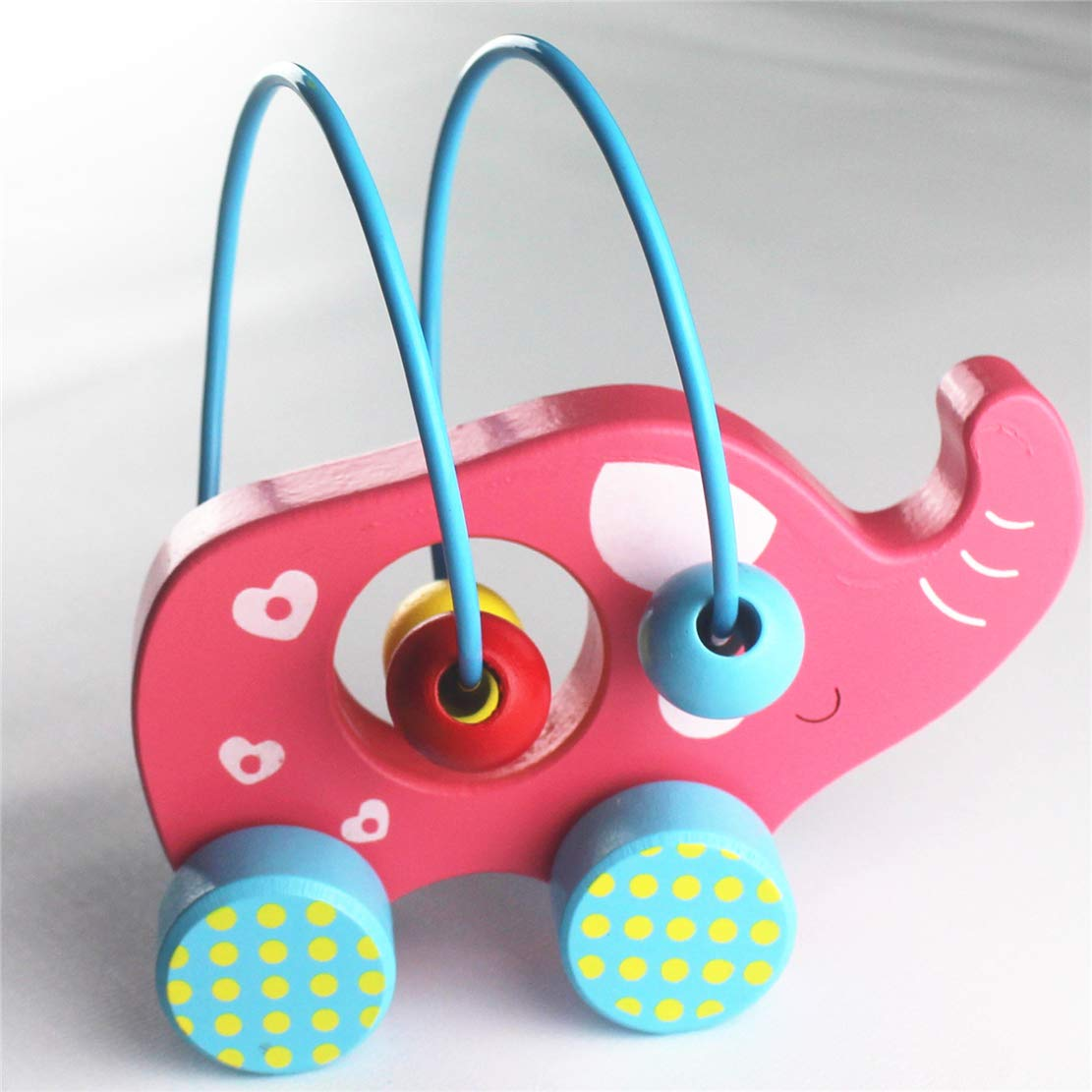 Muxihosn Adorable Pink Elephant Chunky Wooden Car Toddlers,Boys/&Girls,3 Year Old or up Animal Easy Push Toys with Simple Bead Maze,Educational Toy for Baby