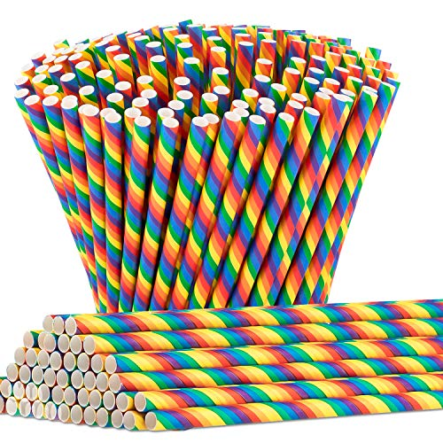 (300PCS Biodegradable Rainbow Paper Straws, Whaline Bulk Colorful Drinking Straws for Birthday, Wedding, Anniversary, Pride Day Party Supplies)