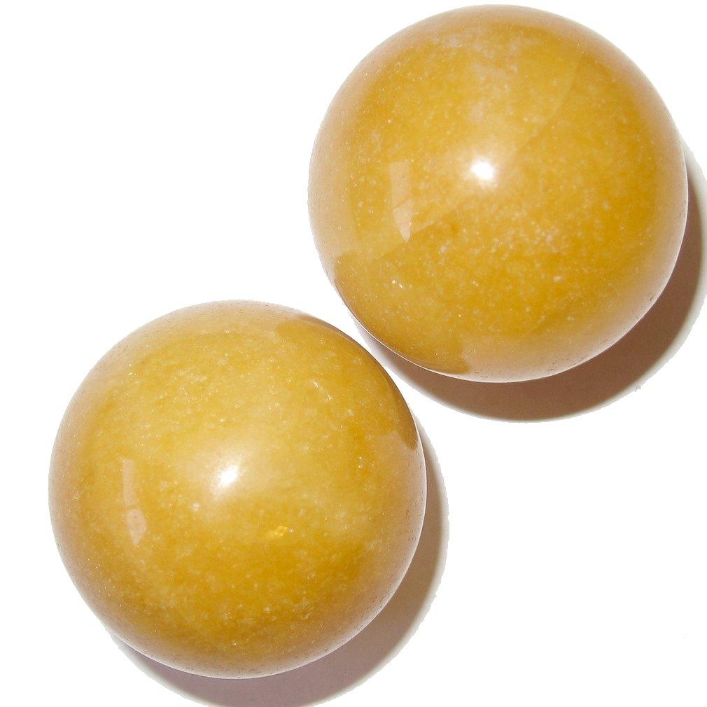 Satin Crystals opalball01a SatinCrystals Aventurine Ball Premium Pair of Money Wealth Abundance Spheres Financial Feng Shui Stone P02 Orange, 1.2 Inches