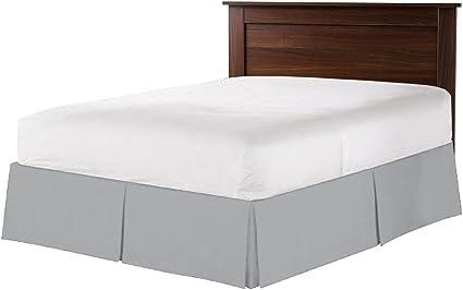 Juego de cama de algodón egipcio de 600 hilos, 1 falda de cama de esquina dividida de 40 cm, tamaño King (150 x 200 cm), color gris