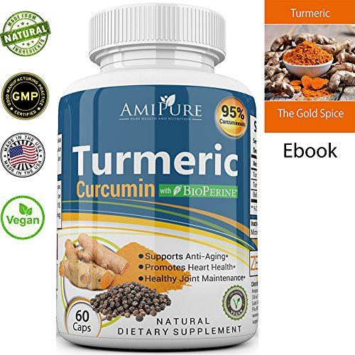 Amipure Turmeric Curcumin with Bioprene for better absorbtion, turmeric capsules with black pepper, 95% Curcuminoids, Anti-Inflammatory Supplement and Antioxidant, 100% Natural