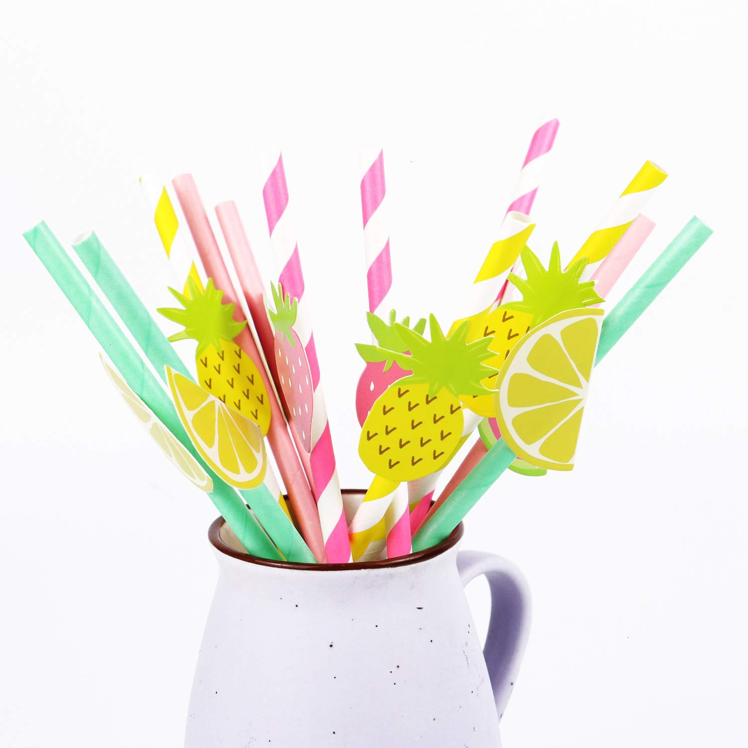 50 Pieces Disposable Party Drinking Straws Pineapple /& Watermelon Mixed