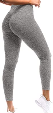 SEASUM Women's Sport Tights Compression Leggings Ruched Butt Workout Yoga Pants