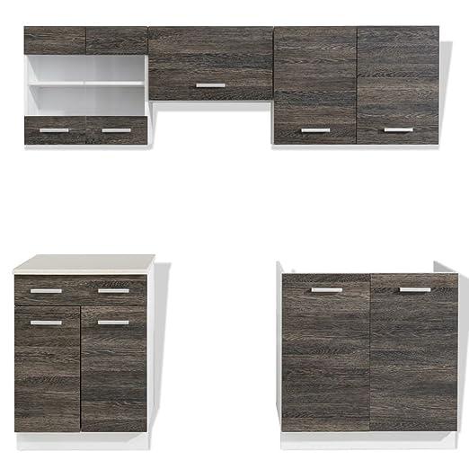 Conjunto modular de 5 muebles de cocina color wengué, con ...