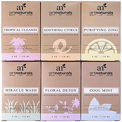 ArtNaturals 6 Piece Soap Bar Set, 100% Natural and Infused with Jojoba Oil, Best for All Skin Types, Body and Face, Men and Women, Tea Tree/Lavender/Eucalyptus/Lemon/Grapefruit/Orange, 4 oz. - Women Types Face