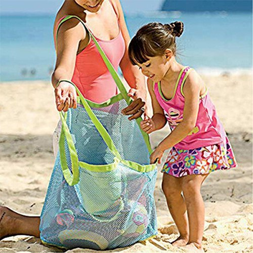 KAIL Large Sand & Water Away Toys Beach Mesh Bag Tote Pouch Handbag Buggy Storage Bag (Blue net)