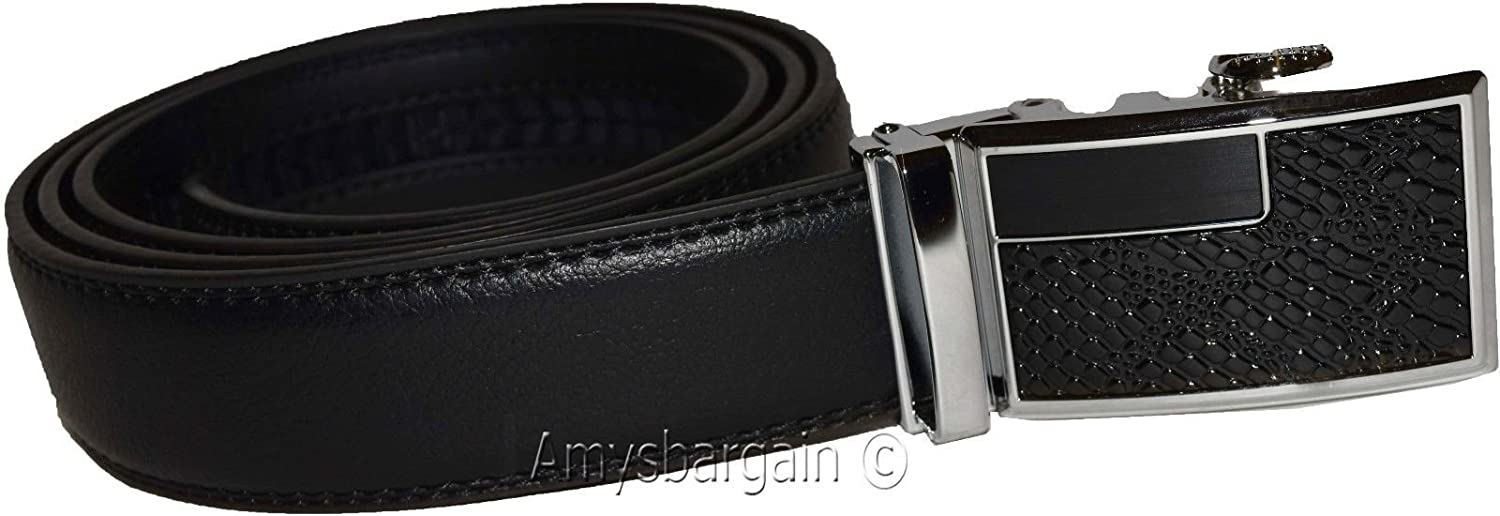 Automatic Lock belt buckle Men/'s Leather Dress Belt Men/'s Quick lock New belt
