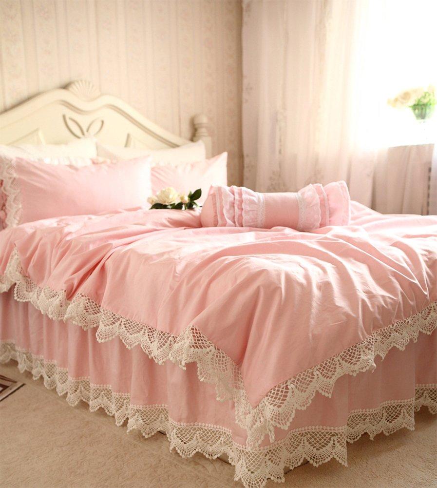 SIBAIER 「姫様のピンクの夢」 綿100% ホワイトのクロッシェレース ピンク ベッドカバーセット(ベッドカバー ベッドスカー ト枕カバー) (ダブル  四点セット) B01E48W736 ダブル  四点セット ダブル  四点セット