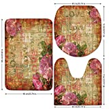 3 Piece Bathroom Mat Set,Roses Decorations,Grunge Floral Dark Dated Damaged Alienated Background with Roses Antique Art Design,Cream Pink,Bath Mat,Bathroom Carpet Rug,Non-Slip
