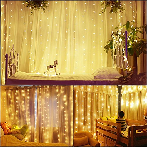 AveyLum LED String Light Window Curtain Icicle String Lights 3x3 Meters 300 LED Fairy Twinkle Lights with 8 Modes for Bedroom Wedding Party Bar Outdoor Indoor Patio Yard Wall Decoration, Warm White