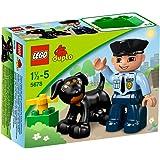 1 x Lego Duplo Figur Mann dunkel blau Uniform Polizei Marke Krawatte 47394pb141