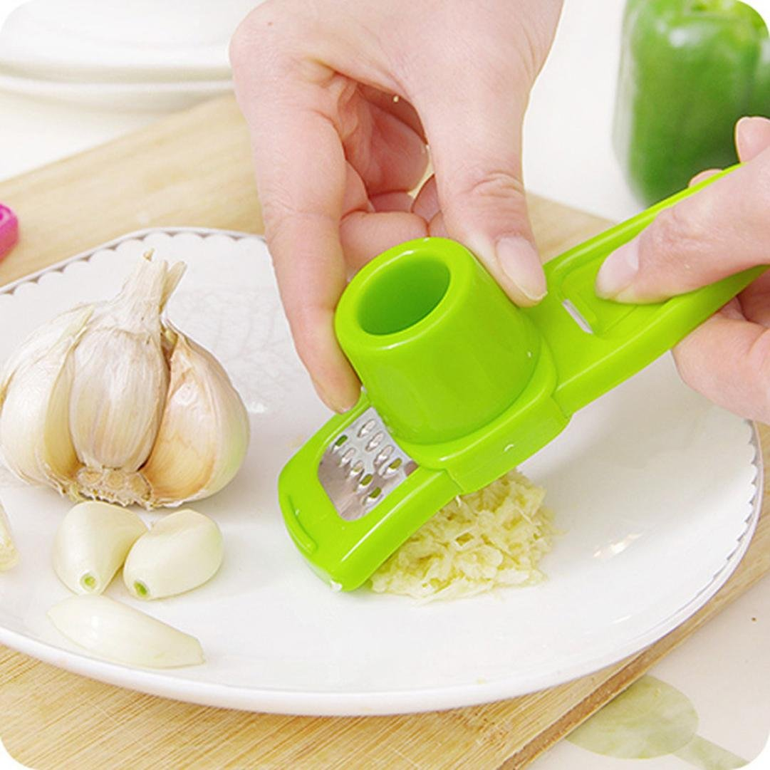 Vacally Stainless Steel Pressing Garlic Slicer Cutter Shredder Save Time Kitchen Tool Multifunction (Green)