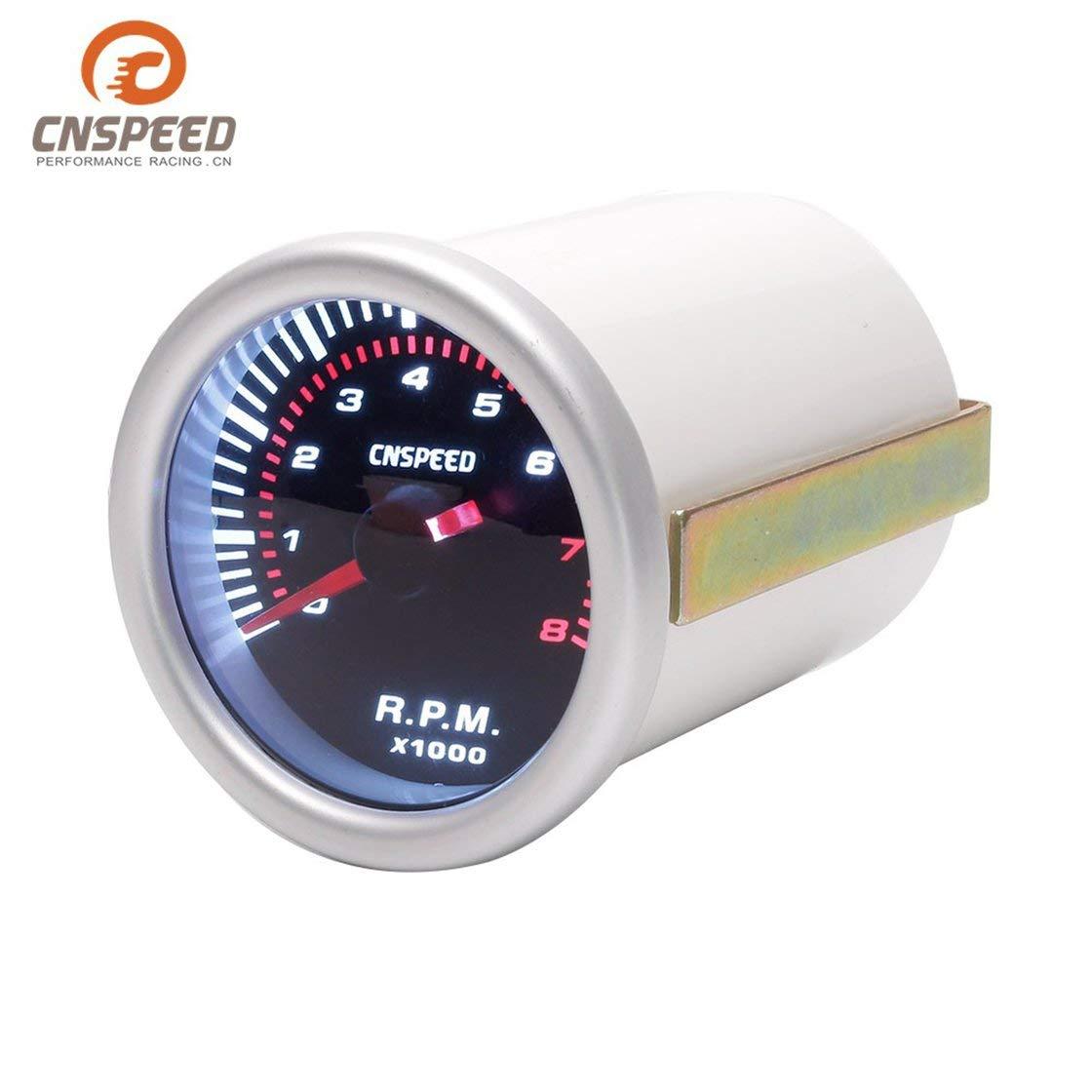 CNSPEED 52mm Coche elé ctrico Indicador de velocidad del motor Tacó metro Medidor de tacó metro Medidor Probador 0~8000 RPM Contador para 4/6/8 cilindro Laurelmartina