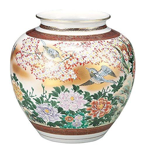 KUTANI YAKI(ware) Vase birds in Gold Flower