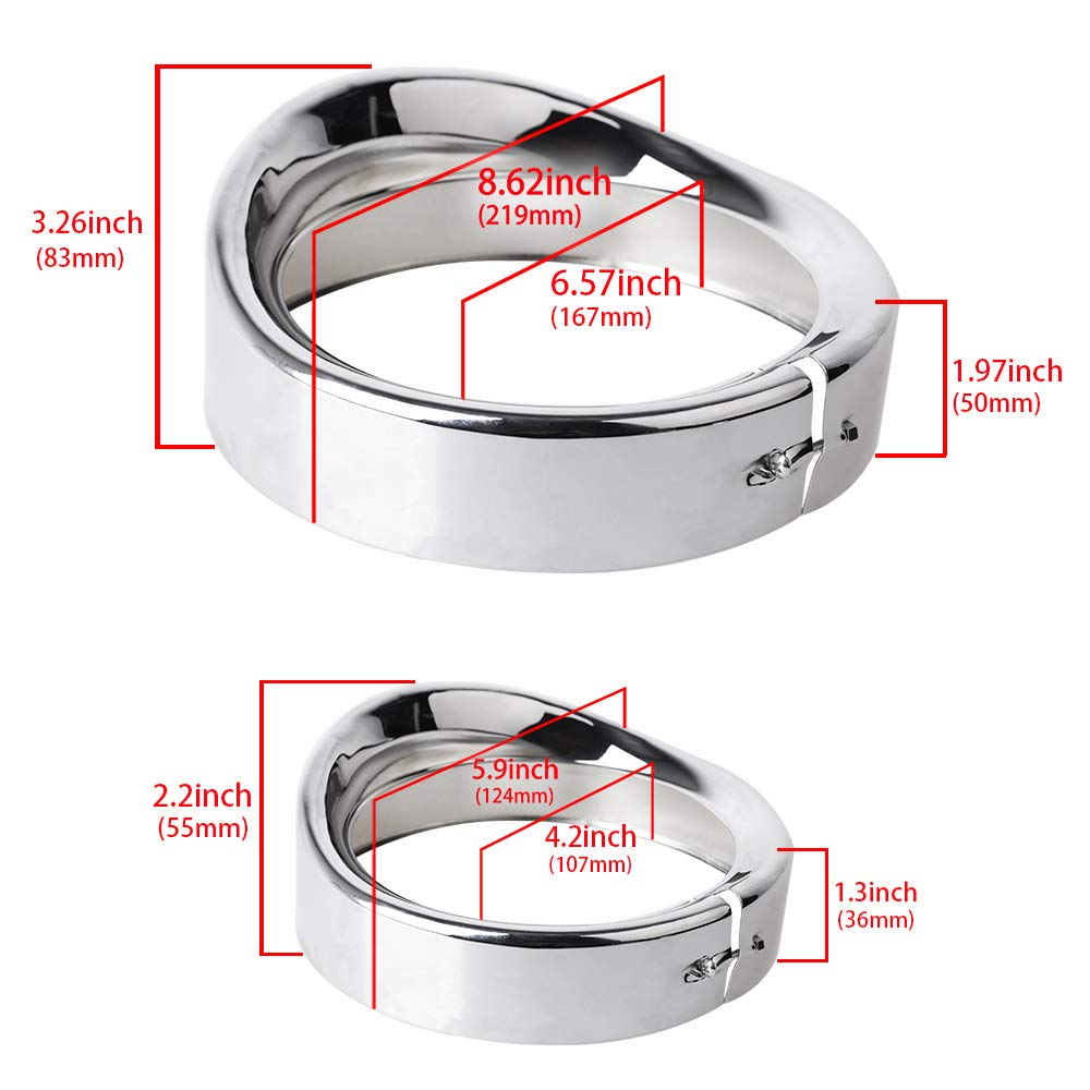 NTHREEAUTO Chrome Motorcycle Lights Frenched Ring Kit Compatible with Harley Davidson, 7'' Headlight Trim Ring Decorate Visor + 4 1/2'' Fog Light Trim Ring Decorate Visor(Chrome) by NTHREEAUTO (Image #4)