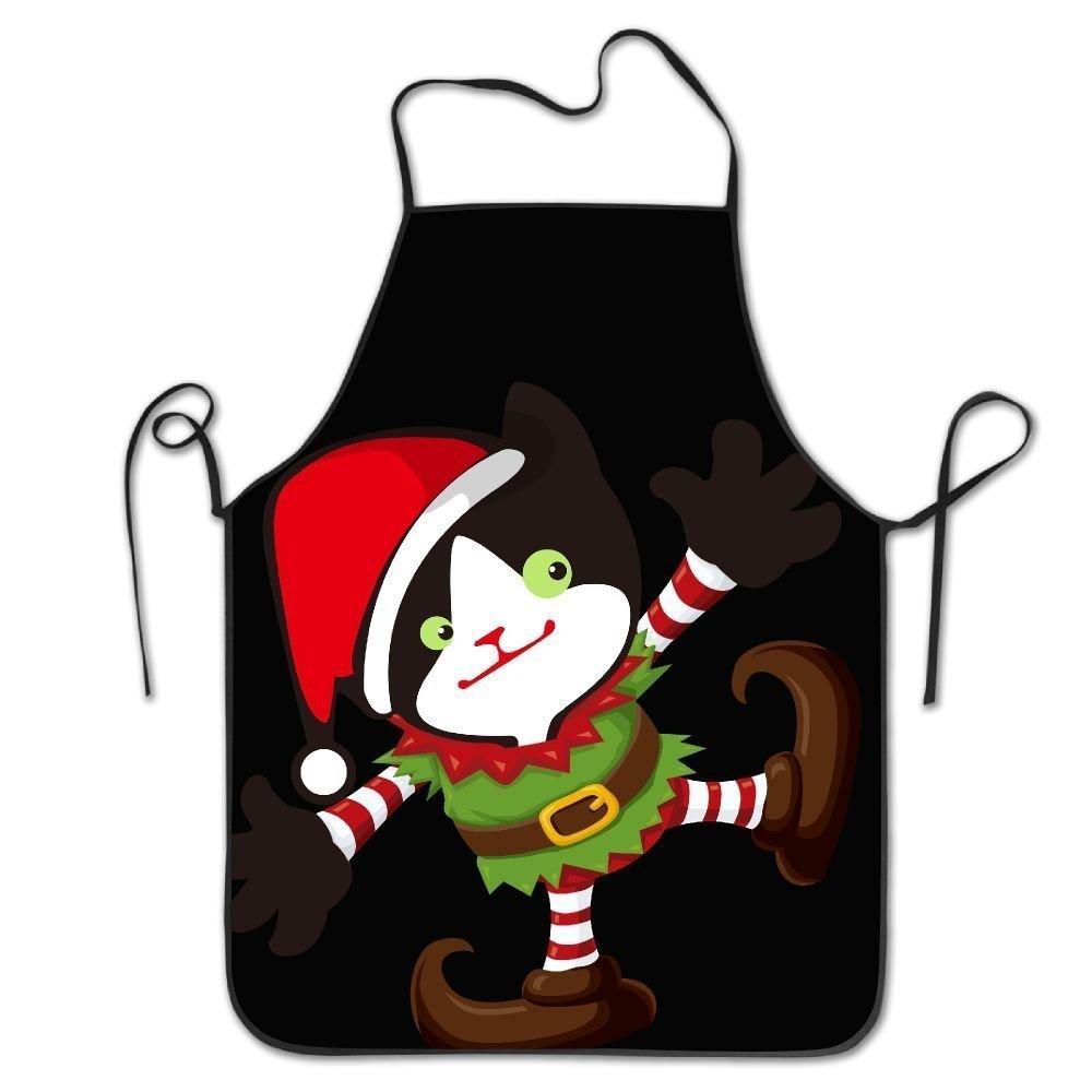かわいいクリスマスブラックCatロックエッジ防水耐久性文字列調節可能お手入れ簡単料理エプロンキッチンエプロンレディースメンズのシェフ   B07DCJY7CB
