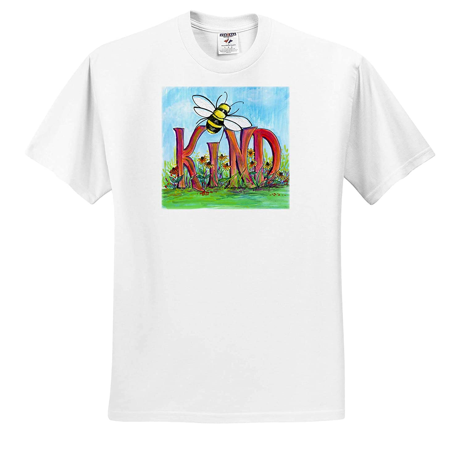 Bee Kind Painting Quotes ts/_319906 Adult T-Shirt XL 3dRose Amanda Levermann