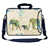 Meffort Inc 17 17.3 inch Neoprene Laptop Bag Sleeve with Extra Side Pocket, Soft Carrying Handle & Removable Shoulder Strap for 16'' to 17.3'' Size Notebook Computer - Family of Elephants