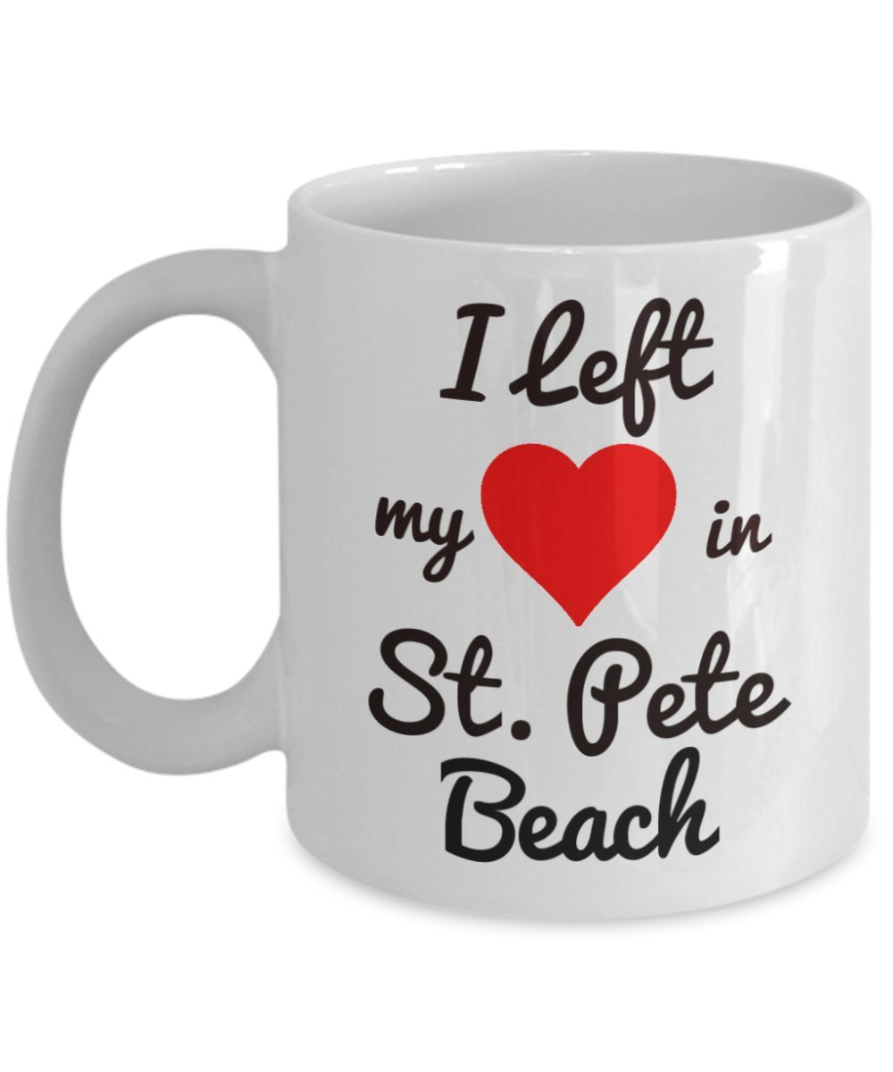 St. Pete Beach Mug - St. Petersburg FL Souvenirs - I Left My Heart in St. Pete Beach - St. Pete Gifts For the Spring Break or Summer Vacation Traveler Who Loves Florida - Don Cesar Hotel, Dali Museum