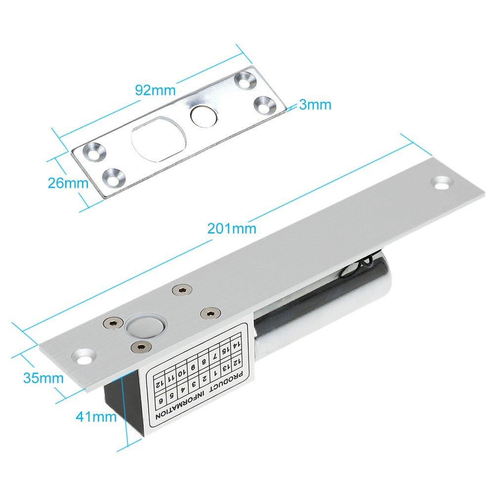 KKmoon Cerradura Eléctrica de Perno NC 12V para Sistema de Control Acceso Entrada de Puerta