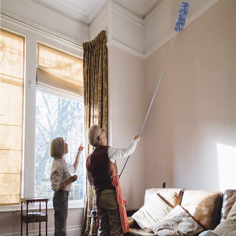 Microfiber Duster for Cleaning with Extension PoleReaches 100 Inches,LECAMEBOR Flexible and Extendable Duster for Cleaning Ceiling Fan/Furniture/Keyboard/Cobweb-Upgraded by LECAMEBOR (Image #5)