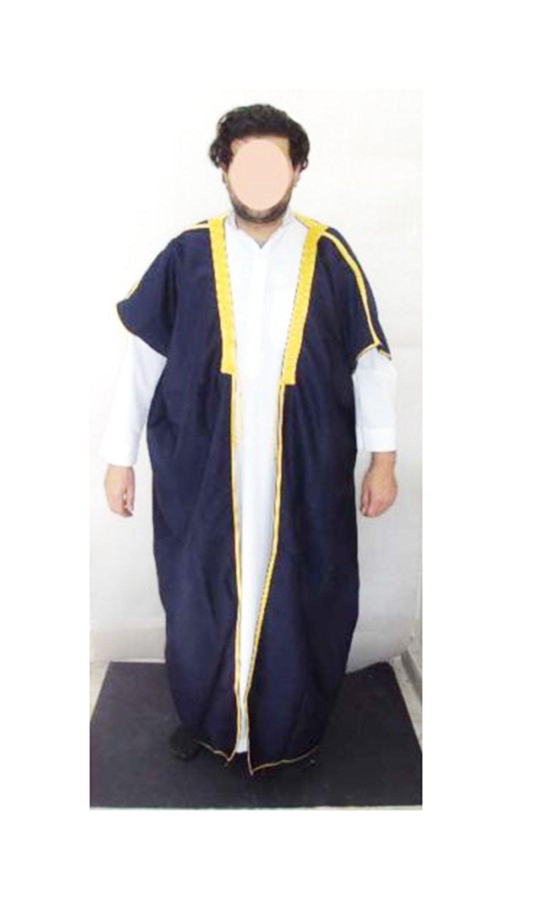 bonballoon Dark Blue Bedouin Arabian Men Saudi Gulf Abaya Thobe Galabeya Muslim Jilbab 364
