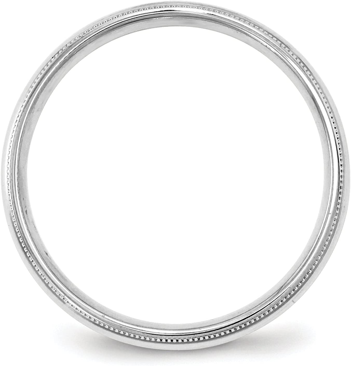 Solid 10k White Gold 4mm Milgrain Comfort Fit Band Finger Size