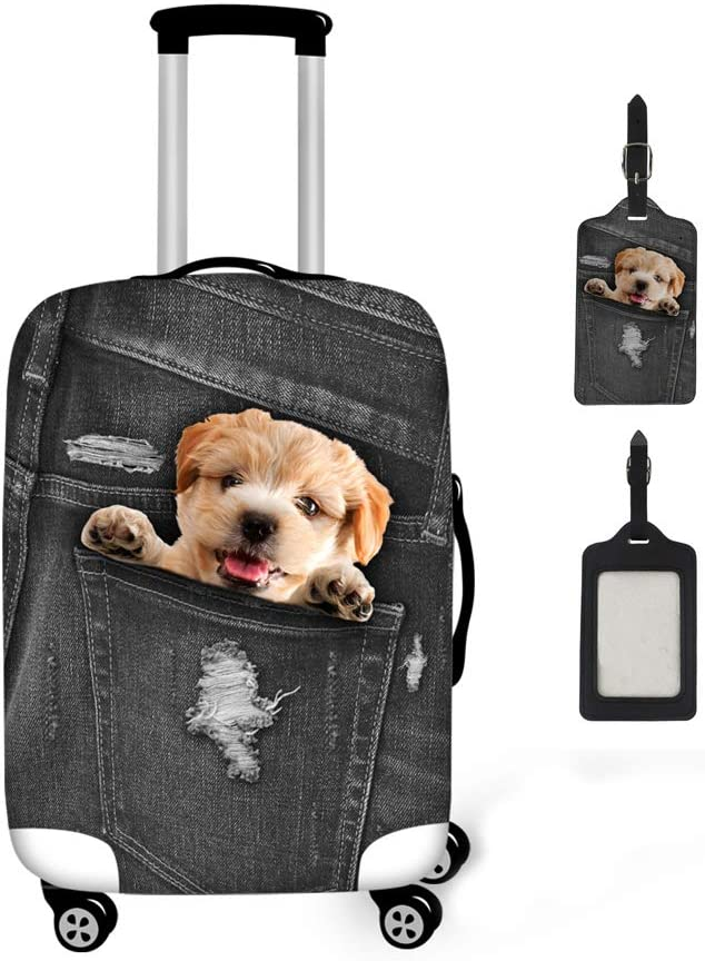 Coloranimal Kawaii 3D Puppy Dog Luggage Cover with Suitcase Label 2 Piece Set for 26-30 Inch Trunk Case