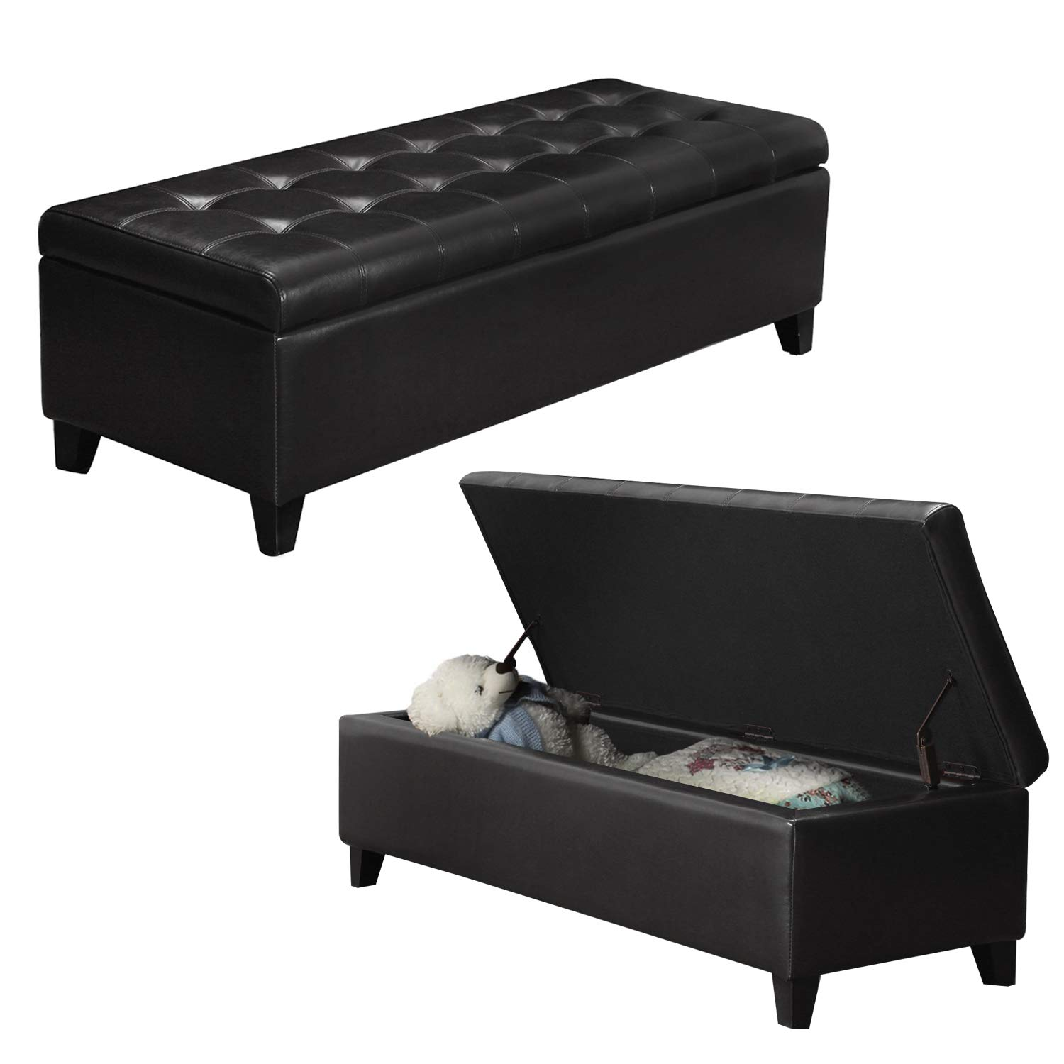 Awe Inspiring Black Faux Leather Tufted Storage Bench Ottoman With Hinged Lid Rectangular Gamerscity Chair Design For Home Gamerscityorg