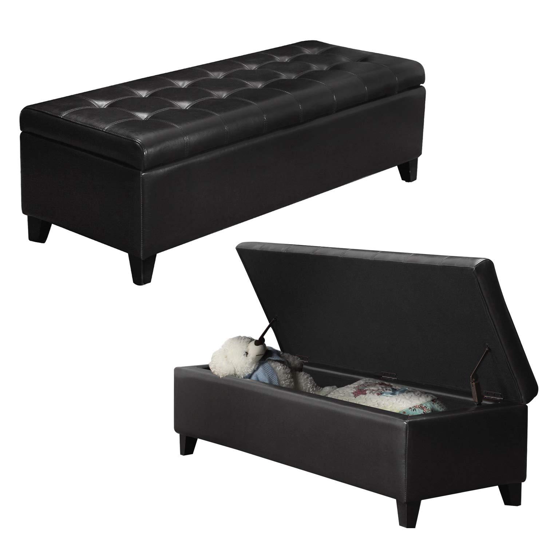 Wondrous Black Faux Leather Tufted Storage Bench Ottoman With Hinged Lid Rectangular Inzonedesignstudio Interior Chair Design Inzonedesignstudiocom