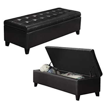 Superb Black Faux Leather Tufted Storage Bench Ottoman With Hinged Lid Rectangular Caraccident5 Cool Chair Designs And Ideas Caraccident5Info