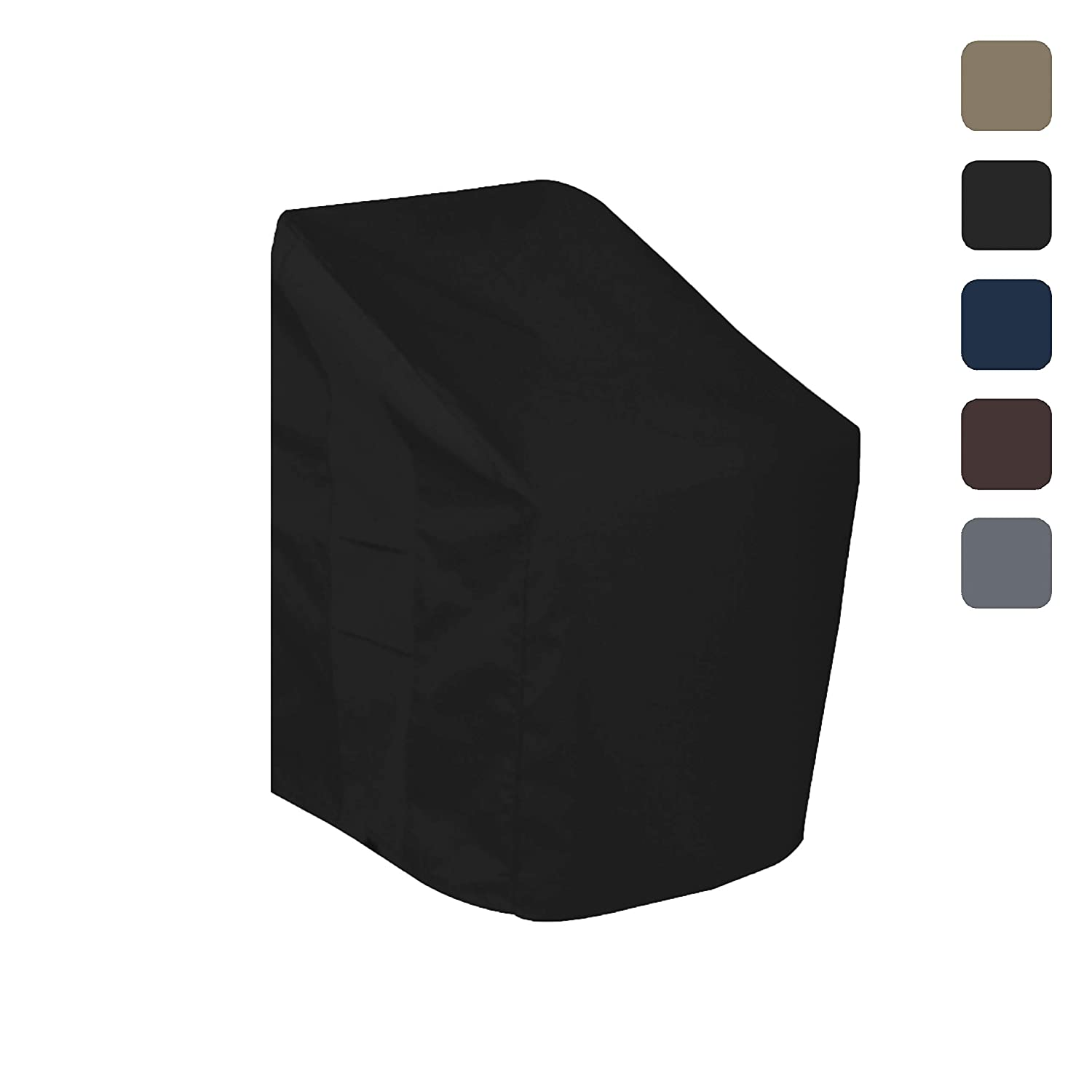 Patio Chair Cover - Waterproof, with Air vents, 100% UV-Resistant, 1000 D Both Side PVC Coated, Outdoor Furniture Stackable Chairs Covers with Drawstring for Snug fit to Withstand Winds & Storms (28W x 30D x 49H, Black) Covers & All