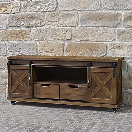 Chemin de campagne - Mueble de salón para tv, diseño industrial (madera y hierro