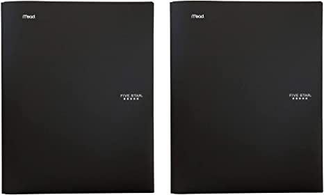 """72113 Stay-Put Folder Great for Home School Supplies /& Home Office 11/"""" x 8-1//2 Five Star 2-Pocket Folder Plastic Colored Folders with Pockets /& Prong Fasteners for 3-Ring Binders Black"""