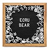 Ecru Bear Letter Board - 10x10 Black Oak Changeable Letter Board with Stand Plus Wall Mount, 340 A-Z Peg Board Bulletin Letters, Symbols and Characters Plus Canvas Bag - DIY Changeable Message Sign