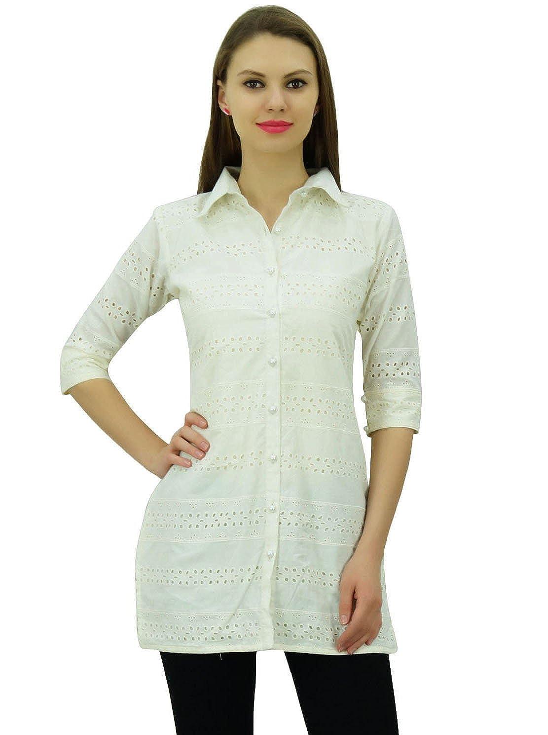 Bimba Women's Solid Cotton Tunic Shirt 3/4 Sleeve Short Kurti Collar Neck Top PAR-BIM-E512A