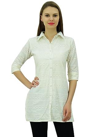 41e1ff8aaf9f6e Bimba Women s Solid Cotton Tunic Shirt 3 4 Sleeve Short Kurti Collar Neck  Top Off White at Amazon Women s Clothing store