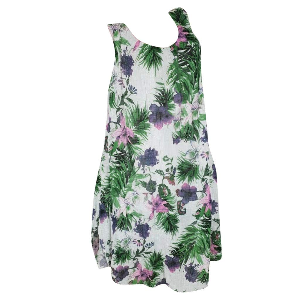 ZOMUSAR Women Plus Size Round Neck Sleeveless Leaves Print Casual Loose Cotton Tnak Dress