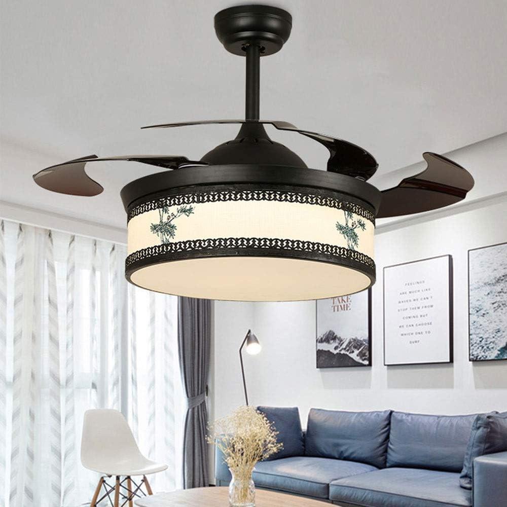 ZXF Lámpara de estilo vintage de estilo chino antiguo en forma de abanico Lámpara de salón LED Lámpara decorativa for ventilador de techo, Patrón de bambú, Pantalla de piel de oveja de imitación, Diám