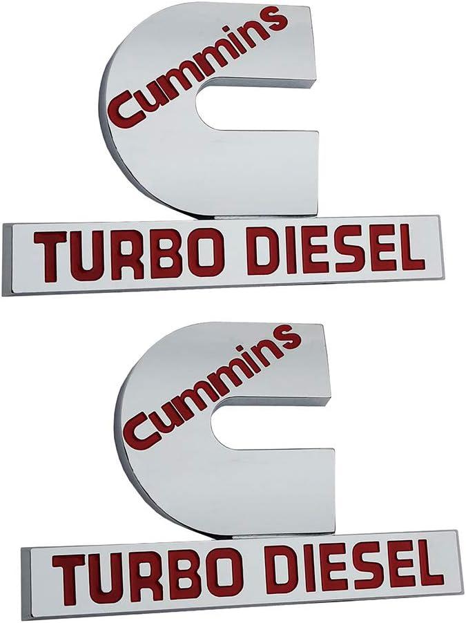 2Pcs Cummins Turbo Diesel Emblems small size Black red 3D Badges High Output Replacement for Ram 2500 3500 Nameplate Fender Emblem