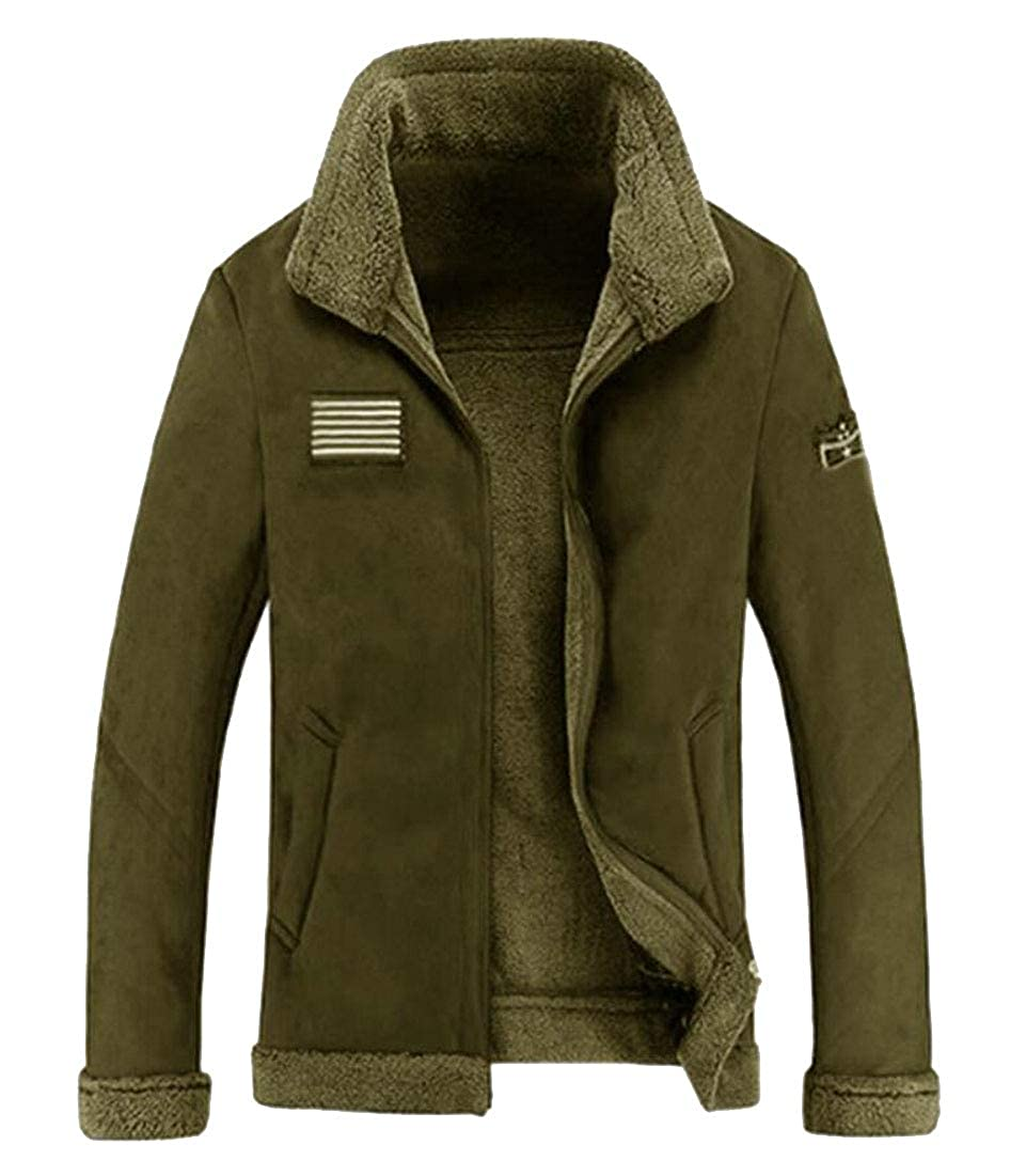 WSPLYSPJY Mens Outdoor Sport Stand Collar Sherpa Lined Polar Fleece Jacket Outwear