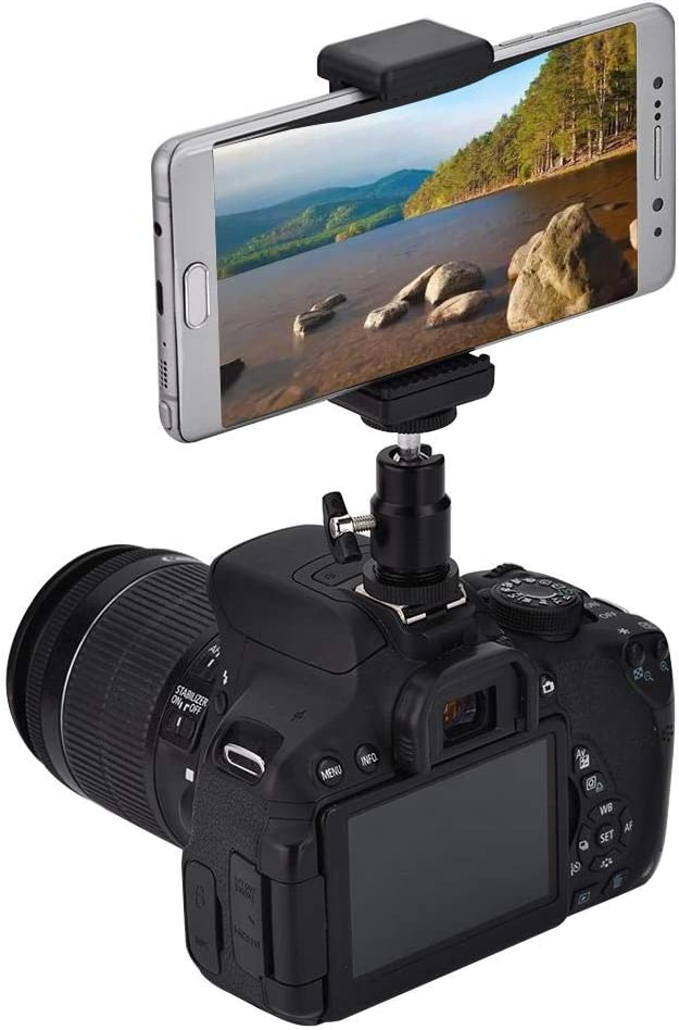 Handle etc. Mobile Phone Holder Clip Tripod Mount Adapter Phone Bracket Holder with 360 Ball Head for Various Accessories Tripod fo sa Compact Phone Camera Mount Flashlight