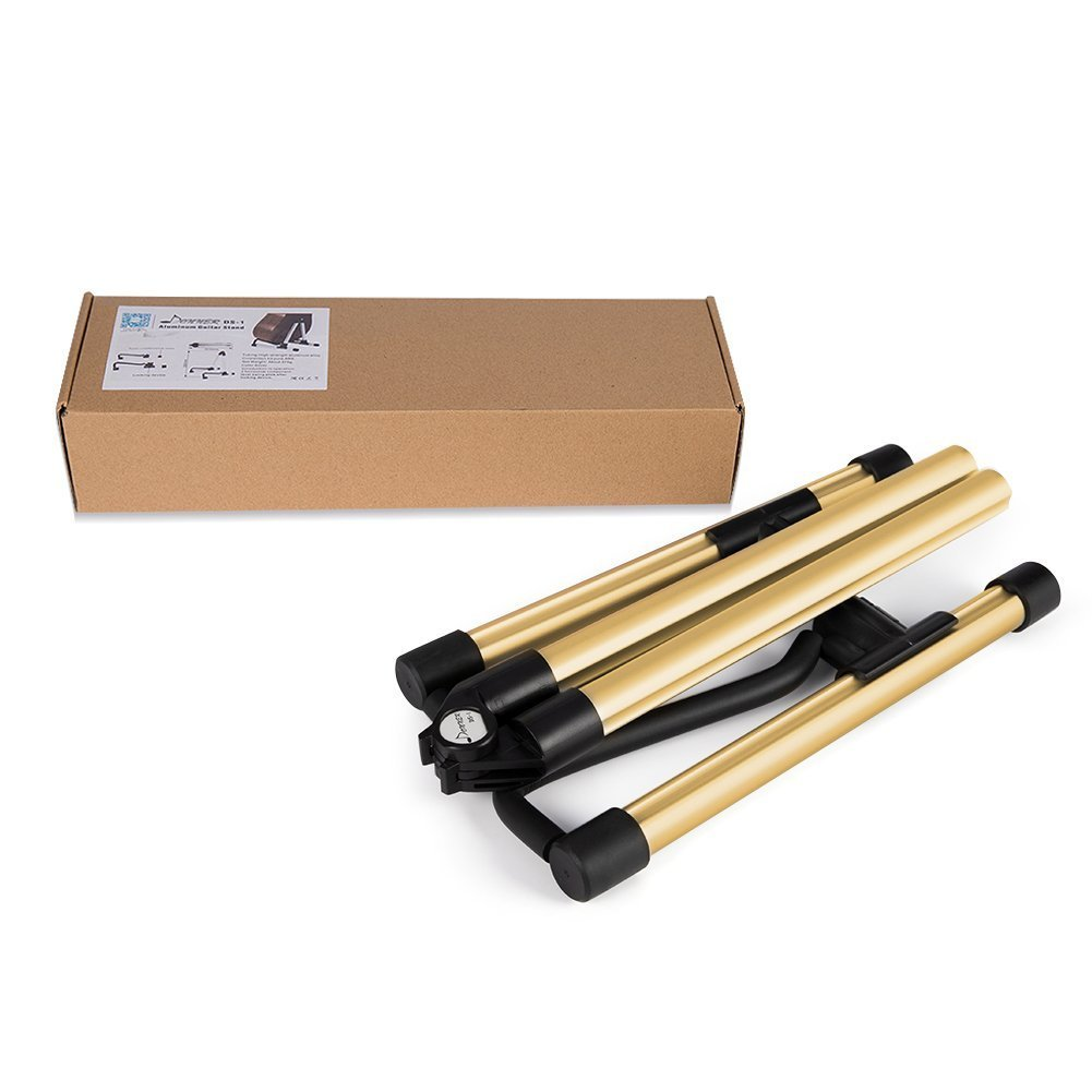 Elecguru Gurtar Stand,Universal Aluminum Alloy A-Frame Folding Music Instrument Stand for Guitar, Bass, Violin, Ukulele, Banjo, Mandolin (Gold) by Elecguru (Image #7)