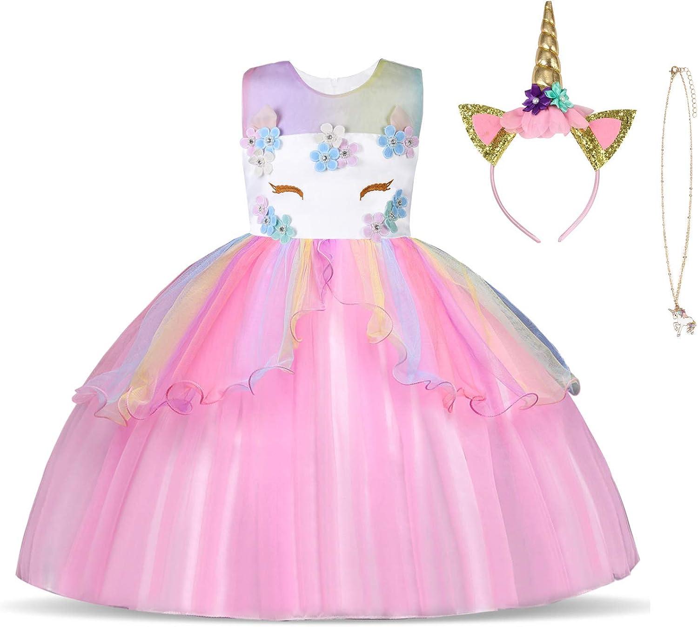 URAQT Disfraz de Unicornio, Vestido de Princesa Unicornio para Niñas, Vestido Elegante con Collar/Diadema para Cumpleaños/Cosplay/Boda, Edad 2-10 Años