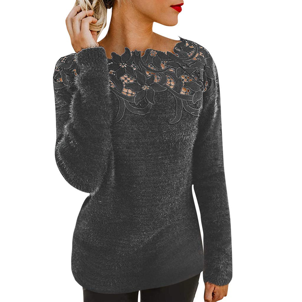 Franterd Women Blouse Floral Fluffy Hollow Jersey Jumper Tops Autumn Ladies Lace Stitching Long Sleeve Loose Pullover Shirt by Franterd