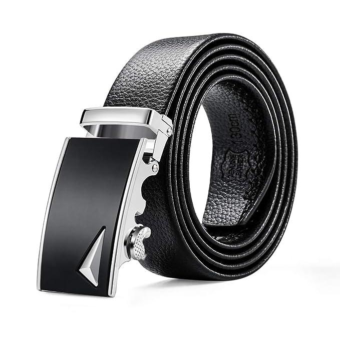FMPJU Cinturones de Cuero para Hombres Negocios Elegantes Clásicos Deportes  Aleación Hebilla Automática Jeans Correas de Trinquete Ajustables   Amazon.es  ... 7a03006a6be2