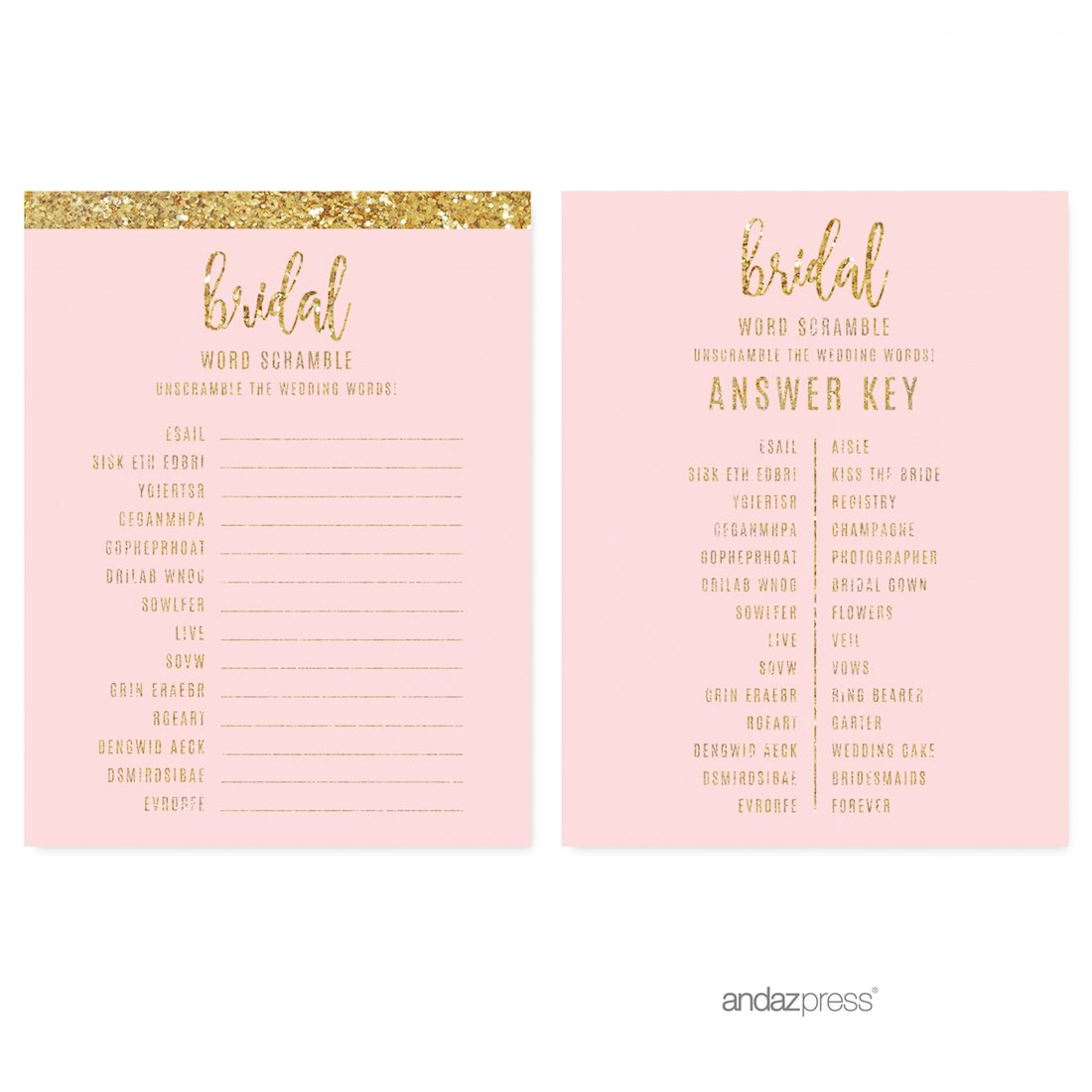 andaz press blush pink gold glitter print wedding collection wedding word scramble bridal shower game